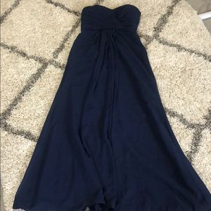 David bridal, navy blue, strapless dress